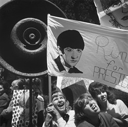 """RINGO FOR PRESIDENT :  In San Francisco, Arthur Tress documented the intriguing collision of the 28th annual Republican National Convention with the kickoff of the Beatles' first North American tour. Those images and more are part of the current de Young show """"Arthur Tress: San Francisco 1964."""" """"At one point, in Union Square, a throng of Beatlemaniacs collided with a Scranton rally, producing a chaotic scene that disrupted a marching band's best efforts to carry on with its efforts,"""" curator James A. Ganz writes in the accompanying book. - PHOTOS BY ARTHUR TRESS"""