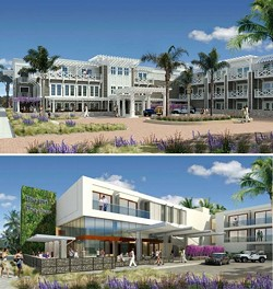 THE PLANS, THEY ARE A-CHANGIN':  After months of extensive discussion and revision, the Pismo Beach Planning Commission finally, during their July 22 meeting, approved plans for a 104-room hotel opposite the Pismo Pier. At the bottom is the Cypress Street hotel entrance as envisioned on - March 11; at the top is the same entrance as envisioned on July 22 after design revisions. - IMAGES COURTESY OF PISMO BEACH PLANNING COMMISSION