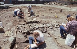 THE DIG:  For about two months in 1987, a small team feverishly dug out historic Chinatown and Native American artifacts before the city of SLO built a parking garage on Palm Street. - PHOTO COURTESY OF LAKE COUNTY ARCHAEOLOGY