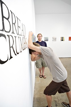 """BREADCRUMB PRINCES:  Brian Christopher (left) and James apRoberts are the minds behind """"Breadcrumbs,"""" a series of collaborative paintings on display at ARTS Space Obispo. - PHOTO BY STEVE E. MILLER"""
