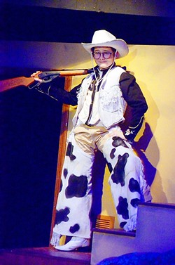 THIS THING WHICH TELLS TIME:  When Ralphie (Phineas Peters) imagines his life with a Red Ryder BB Gun, he's transformed into a heroic cowboy who can save his family from the deadliest old bad guys. - PHOTO COURTESY OF JAMIE FOSTER