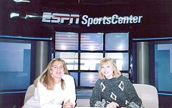 """DOUBLE TAKE!:  CJ Silas (left), pictured on the set at ESPN in 1992, writes of this photo, """"With one of my closest friends and biggest supports, Shireen Saski, or as I like to call her, 'me.'"""" - PHOTO COURTESY OF CJ SILAS"""