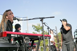 HARMONY! :  Nathaniel Wallace and Ruben Urtiz of Nada Rasta deliver the goods during a rousing concert in Mission Plaza Friday, June 10. Truth About Seafood plays Friday, June 17. - PHOTO BY GLEN STARKEY