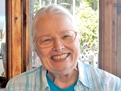 READ HER LIPS:  SLO County Poet Laureate Marguerite Costigan will be at the 100 Thousand Poets and Musicians for Change this Sept. 26 at Bang the Drum Brewery. - PHOTO COURTESY KEVIN PATRICK SULLIVAN