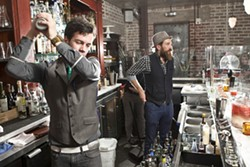 SHAKE IT UP:  The Granada Boys, Henry Bley (left) and Bar Manager Eric Hunter, not only showed New Times a few of their craft drinks, but also how they infuse their own mescal and syrups. - PHOTO BY STEVE E. MILLER