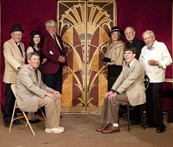 SAIL AWAY, SAIL AWAY… :  The passengers aboard a luxury cruise liner make an unwitting discovery in Sutton Vane's Outward Bound. Pictured, from left to right, (standing) are Jerry McKinnon, Paige Spiller, Craig Brooke, Sharyn Young, Jerry Praver, and George Anderson; seated, from left to right, are Michael Hanley and Blake Spiller. - PHOTO BY BRETT WHITE PHOTOGRAPHY