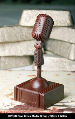 JUST ADD BRONZE :  The wax version of this year's New Times Music Award awaits casting at Genesis Bronze. The deadline for submissions is Monday, June 21, at 5 p.m., so hurry! - PHOTO BY STEVE E. MILLER