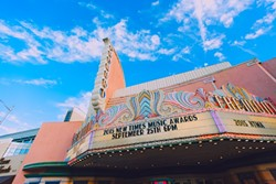 BIG TIME:  The Fremont Theatre's marquee proudly hails the seventh annual New Times Music Awards on Friday, Sept. 24. - PHOTO BY KAORI FUNAHASHI