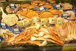 CRUNCHY CRUSTACEANS :  Fresh local caught crab is one of the many products in the seafood department.