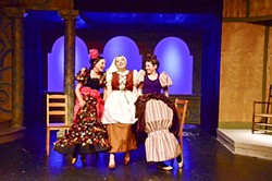 SISTER, SISTER:  Cinderella, Cali Singleton, and her two stepsisters, Penny DellaPelle and Elizabeth Tharp, reminisce about the royal ball. - PHOTO COURTESY OF JAMIE FOSTER PHOTOGRAPHY