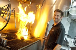 COOKING IT OLD SCHOOL :  Mathew Pearce is bringing authentic Santa Maria-style barbecue to downtown San Luis Obispo. - PHOTO BY STEVE E. MILLER