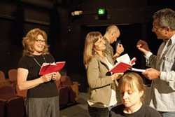 VIVA LA REVOLUCION! :  Christine Hance, Cordelia Roberts, Maggie Coons, Clint Kempster, and Daniel Freeman, pictured from left to right, lend their voices and more to Amy Herzog's After the Revolution, an Ubu's Other Shoe staged reading. - PHOTO BY STEVE E. MILLER