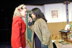 CUTLINE :  Susie Fulton and Jo Mani sling accusations of racism and ungratefulness as Darlene Parsons and Sharon Johnson in SLO Little Theatre's production of Daughters of the Lone Star State. - PHOTO BY STEVE E. MILLER