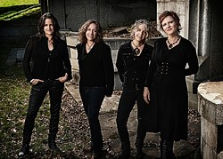 HONEY DRIPPERS :  Blame Sally—(left to right) Pam Delgado, Jeri Jones, Renee Harcourt, and Monica Pasqual—play an album release party on April 22 in Steynberg Gallery. - PHOTO COURTESY OF BLAME SALLY