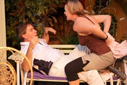 STAGE STRIP :  Rosie Pye (Britta Swearingen) attempts to seduce Felix Humble (David Norum) in his mother's English garden. - PHOTO BY STEVE E. MILLER