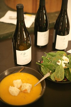 COURSES ONE AND TWO :  The silver medaled 2008 Treviti Chardonnay is paired with a spinach salad and butternut squash soup. - PHOTO BY GLEN STARKEY