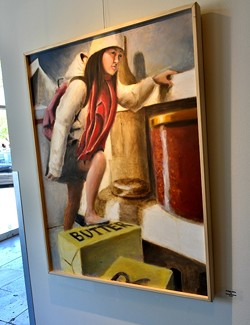 FOOD SUMMIT:  Harold Muliadi, a student of Pearce's at Cal Lutheran, paints imaginative scenes, like that of a young girl trekking the inner caverns of a refrigerator in 'Fridge Hike.'