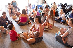 LUNCH TIME!:  Local moms took part in the Global Big Latch On, Aug. 1, which aims to promote and de-stigmatize breastfeeding. Close to 15,000 moms participated worldwide. - PHOTO COURTESY OF RACHEL MOMAN-NEUMANN