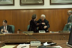 IN WITH THE NEW :  San Luis Obispo Mayor Dave Romero handed over the reins of the city to incoming Mayor Jan Marx. - PHOTO BY STEVE E. MILLER
