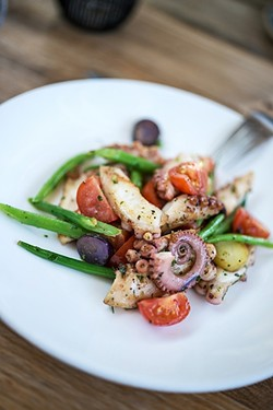 YES PLEASE!:  S.Y. Kitchen serves a tongue-tingling warm octopus salad with taggiasca olives, potatoes, cherry tomatoes, and haricot verts. - PHOTOS BY ROB STARK, COURTESY OF S.Y. KITCHEN