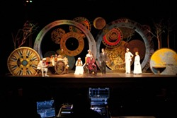 WHEELS OF TIME:  Playwright/director/designer Al Schnupp's ingenious set reflects the notion of travel, both in terms of time and geography. - PHOTO BY STEVE E. MILLER