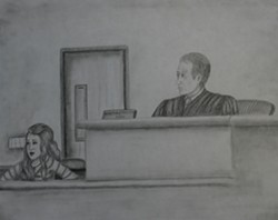 COURTROOM DRAMA! :  Holly Myrick's drawing of the case is one of several rendered for the courtroom drawing competition. - IMAGE COURTESY OF HOLLY MYRICK