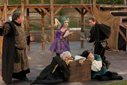 FORCE OF NATURE :  Invisible spirit Ariel (Katherine Perello, center) thwarts the plans of Antonio (David Anthony Hance, far left) and Sebastian (Charles Hayek, far right) to murder Alonso and Gonzolo (Jean Miller and Bob Knowles, sleeping) in the Central Coast Shakespeare Festival's staging of The Tempest. - PHOTO BY STEVE E. MILLER