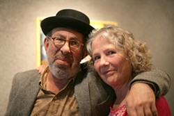 REUNION :  Because of Mark Beck's deep connection to SLO County, longtime friends—like Peter Yelda and Linda Seeley—came out of the woodwork to attend his reception. - PHOTO BY GLEN STARKEY