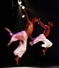 LEAP :  Male dancers are always difficult to find, but the contemporary dance troupe usually manages to round up a few. - PHOTO COURTESY OF VARIABLE VELOCITY