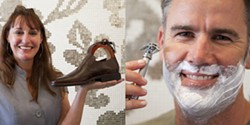 FACE TIME :  Jules DuRocher (left), co-owner of Jules D., sells shoes, belts, and other stuff for guys with style—including shaving equipment, as demonstrated by customer Justin Watson (right). - PHOTOS BY STEVE E. MILLER