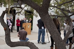 'NOT ON MY WATCH' :  Cuesta College President Gil Stork told students, faculty, and local media Feb. 6 that he's not going to let the school lose its accreditation. - PHOTO BY STEVE E. MILLER