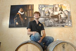 VINTNER JOHN EVAN MARION AND LABEL ARTWORK: - PHOTO COURTESY OF THE INDEPENDENT MAGAZINE