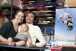 INDOMITABLE SPIRIT :  Despite a near total paralysis, Jamie and Kinsley ThomasWong (their surnames were combined to signify how the two families became one clan) are determined to someday kite surf with their son, Taizen. - PHOTO BY STEVE E. MILLER