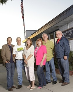 MORRO BAY :  Two candidates are running for mayor in the Morro Bay election, and four candidates are running for two seats on the city council: (left to right) Roger Ewing, Noah Smukler, Carla Borchard, Janice Peters, George Leage, and Bill Peirce. - PHOTO BY STEVE E MILLER