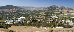 WHEN IN DOUBT, EXPAND:  Though Cal Poly's campus is already expansive, university officials said they'd have to add housing, programming, dining, and classroom space in order to accommodate President Jeffrey Armstrong's stated goal of 25 percent enrollment growth. - FILE PHOTO BY STEVE E. MILLER