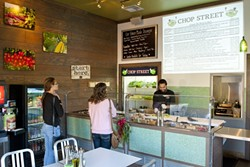 PICK, CHOP, AND ROLL :  Chop Street in Pismo Beach is offering a huge selection of freshly prepared vegetables, cheeses, and meats to be added to salads or wraps, all made right in front of the customer. - PHOTOS BY STEVE E. MILLER