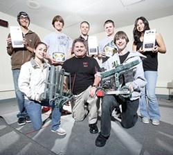 GOOD TO GO :  The Nipomo High School robotics team is ready to take on the world. Members include from the left in front Rachel LeCover, advisor Greg Gracia, and Erik Sandberg; and standing, from left, Sergio Navarro, Ryan Tucker, Coty Walker, Dylan Hardy, and Jasmine Desmit. - PHOTO COURTESY OF GREG GRACIA