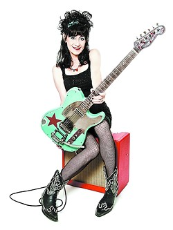 ROSIE THE RIVETER:  You'll be riveted to rockabilly queen Rosie Flores' guitar playing when she appears on April 19 at SLO Brew. - PHOTO COURTESY OF ROSIE FLORES