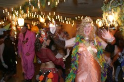 LAISSEZ LES BONS TEMPS ROULER! :  Attendees at ARTS Obispo's ARTI Gras event took to the dance floor at the Madonna Inn on Feb. 13. - PHOTO BY GLEN STARKEY