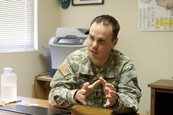 HELP OFFERED:  Lt. Dustin Harris is one of California National Guard's three full-time behavioral health officers. His office provides up to 12 free counseling sessions for every issue affecting soldiers and their families. - PHOTO BY STEVE E. MILLER