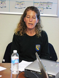 TRACKER :  Environmental scientist Melissa Boggs with the Department of Fish and Game Office of Spill Prevention and Response is modeling where oil would - travel if released from the Montebello. - PHOTO BY TASK FORCE
