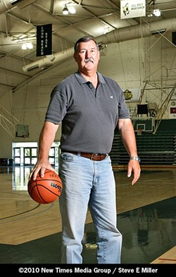 LAWMAN ON THE COURT :  Jerry Lenthall, who's a former SLO patrol officer and 3rd District County Supervisor, was a center for the Cal Poly basketball team from 1969 to 1971. - PHOTO BY STEVE E. MILLER