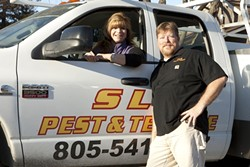 """FAMILY KNOWS PEST:  John """"Colorado"""" Vergeldt and his wife, Patty, are co-owners of SLO Pest and Termite, an independent pest-control business that they operate out of their Santa Margarita home. - PHOTO BY STEVE E. MILLER"""