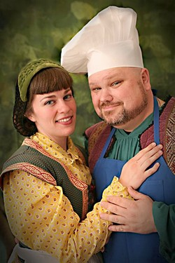 BAKED GOODS:  Christian Clarno (right) and Lizz Premer (left) play the Baker and his wife, two of the central characters in Stephen Sondheim's musical, who make a deal with a witch so they can have a child. - PHOTO COURTESY OF KELRIK PRODUCTIONS