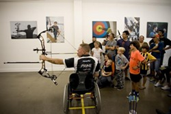 SHOOT STRAIGHT:  Paralympic archer Jeff Fabry uses a mouth tab during his archery demonstration. - PHOTO COURTESY OF CENTRAL COAST ARCHERY