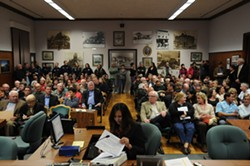 TOUGH CROWD:  Of 37 people who showed up to speak to the San Luis Obispo City Council about the contentious labor negotiating practice known as binding arbitration, only four asked not to change the status quo. - BY ROBERT A. MCDONALD