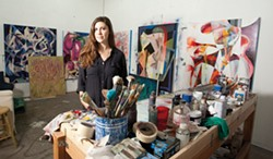 ORGANIZED CHAOS:  Artist Julia Hickey, pictured in her San Luis Obispo studio, prepares for two upcoming art exhibits. - PHOTO BY STEVE E. MILLER