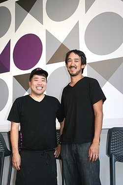 PEACEMAKERS:  From left, Oki Momo Asian Grill chef/co-owner In Lloyd and co-owner Jonathan Yeh aim to bring all facets of the food community together for a balanced, delicious meal. - PHOTO BY HAYLEY THOMAS