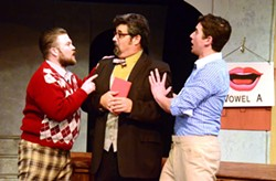 BUY A VOWEL:  Cosmo Brown (Zach Johnson) and Don Lockwood (Jeff Salsbury) torture a pompous diction coach (John Mackey) with their vaudevillian antics. - PHOTO COURTESY OF JAMIE FOSTER PHOTOGRAPHY