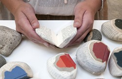 BOOKS ROCK :  Illinois book artist Pamela Paulsrud cuts up books to look like stones—then throws a few real rocks into the mix just to mess with you. - PHOTOS COURTESY OF DAVE PROCHASKA